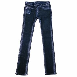 Stefano Luxury Black and Silver Rubber Feel Stretch Skinny Jeans, Sz 29